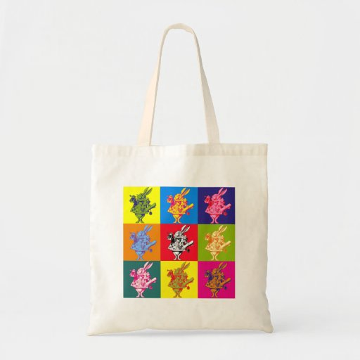 Pop Art White Rabbit Full Colour Canvas Bags