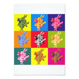 Pop Art White Rabbit Full Colour 13 Cm X 18 Cm Invitation Card
