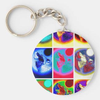 Pop Art Wolf Basic Round Button Key Ring