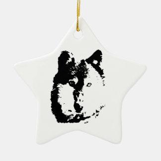 Pop Art Wolf Ceramic Star Decoration