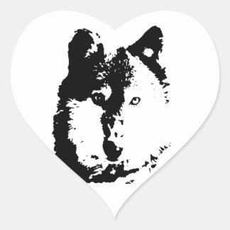 Pop Art Wolf Heart Sticker