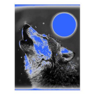 Pop Art Wolf Howling at Moon Postcard
