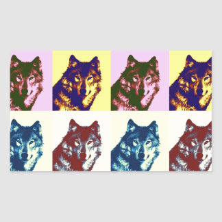 Pop Art Wolf Rectangular Sticker