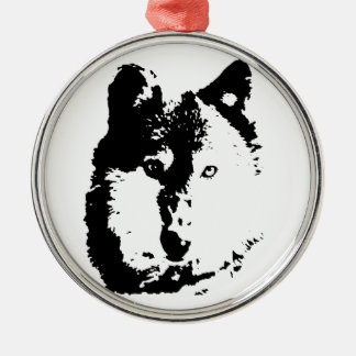 Pop Art Wolf Silver-Colored Round Decoration