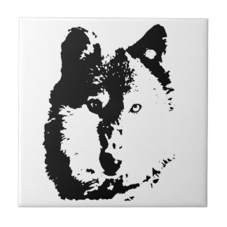 Pop Art Wolf Small Square Tile