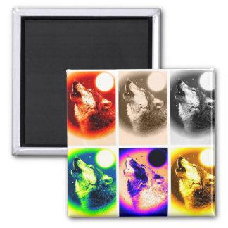 Pop Art Wolf Square Magnet