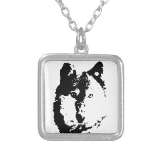 Pop Art Wolf Square Pendant Necklace