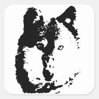 Pop Art Wolf Square Stickers