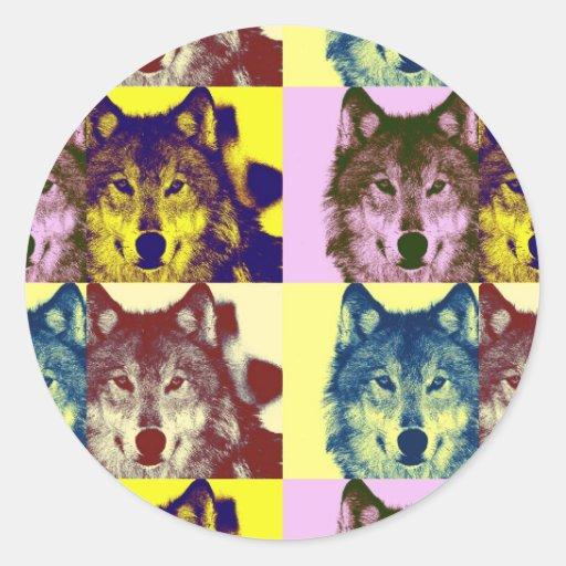 Pop Art Wolf Round Stickers