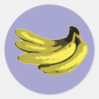 Pop Art Yellow Banana Graphic Round Sticker