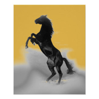 Pop Art Yellow White Rearing Horse Poster