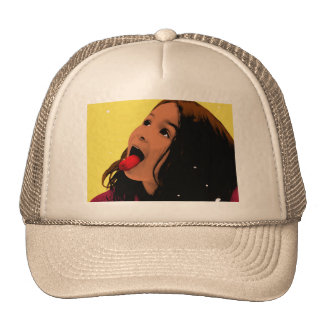Pop Art Young Girl Catching Snowflakes on Tongue Cap