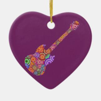 Pop Circles Guitar Logo Ceramic Heart Decoration