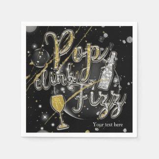 POP CLINK FIZZ Champagne Bubbles Party Celebration Disposable Serviettes
