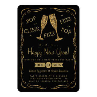 Pop, Clink, Fizz, Gold New Years Eve Party 13 Cm X 18 Cm Invitation Card