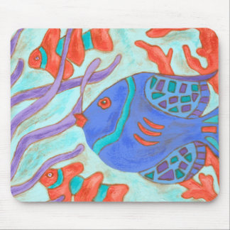 Pop-Colored Fish Mouse Mat