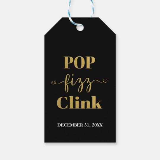 POP FIZZ CLINK Black & Gold Gift Tag
