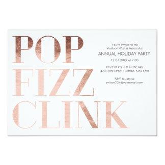 Pop Fizz Clink Faux foil Holiday Business Party Card
