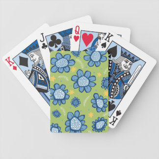 Pop Flowers blue Playing Cards