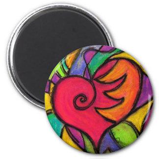 Pop Heart 6 Cm Round Magnet
