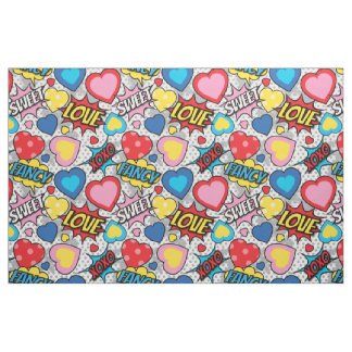 Pop Heart Comic Fabric