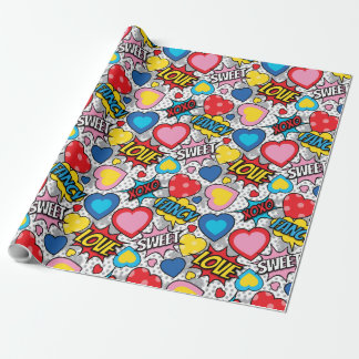 Pop Heart Comic Wrapping Paper