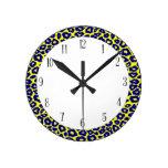 Pop Leopard Round Clocks