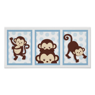 Pop Mod Monkey Polka Dot Nursery Wall Art Print