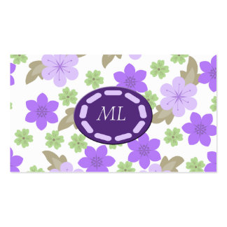 Pop Of Purple Flower Garden Monogram Business Card