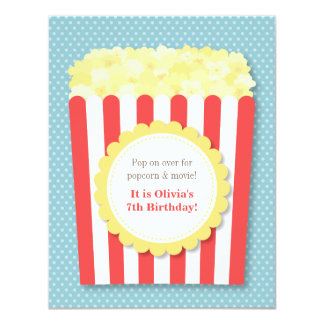 Pop Over Popcorn Movie Night Birthday Party Card