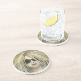 Pop Punk Grrrl Modern Painting Female Portrait Coaster
