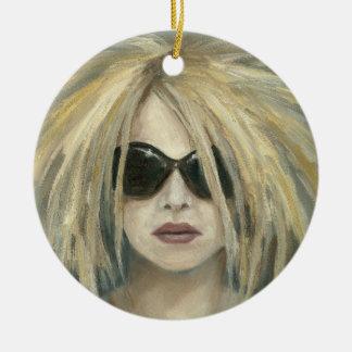 Pop Punk Grrrl Modern Painting Female Portrait Round Ceramic Decoration