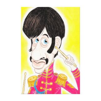 Pop Rock 60s Drummer Music Band Caricature Canvas