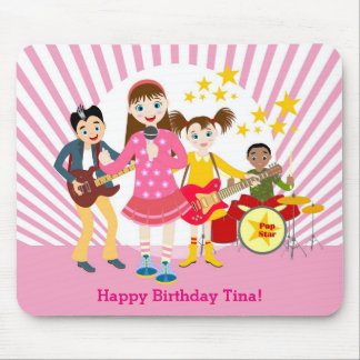 Pop star girl birthday party mouse pad