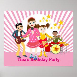 Pop star girl birthday party poster