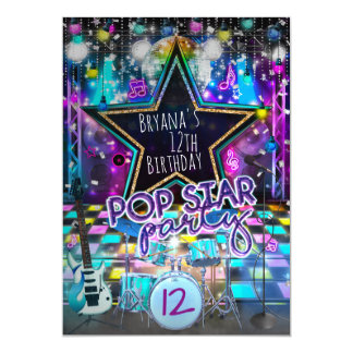 POP STAR PARTY Birthday Musical Dance Invitation