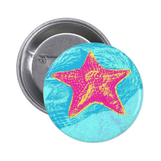 Pop Style Starfish 6 Cm Round Badge