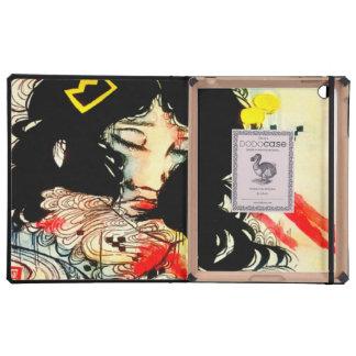 Pop surreal asian girl watercolor illustration iPad case