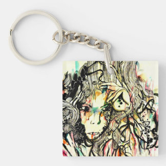 Pop surreal watercolor art abstract portrait Single-Sided square acrylic key ring