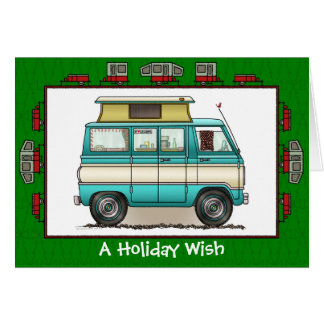 Pop Top Camper RV Trailer Holiday Wish Card
