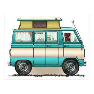 Pop Top Van Camper Postcard