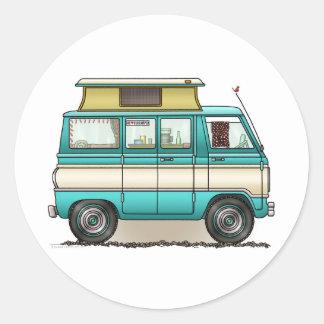 Pop Top Van Camper Round Sticker