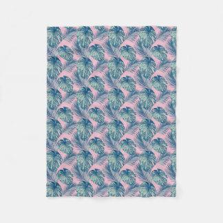 Pop Tropical Leaves Seamless Pattern Series 1 Fleece Blanket