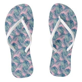 Pop Tropical Leaves Seamless Pattern Series 1 Flip Flops