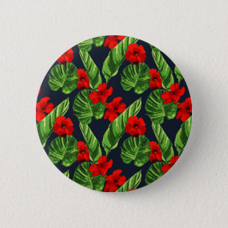 Pop Tropical Leaves Seamless Pattern Series 3 6 Cm Round Badge