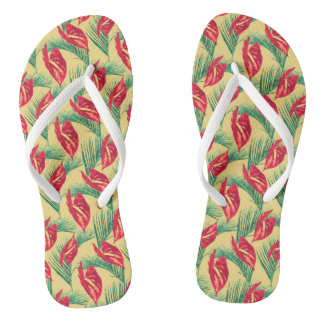 Pop Tropical Leaves Seamless Pattern Series 4 Flip Flops