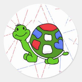 Pop Turtle 4th! Round Sticker