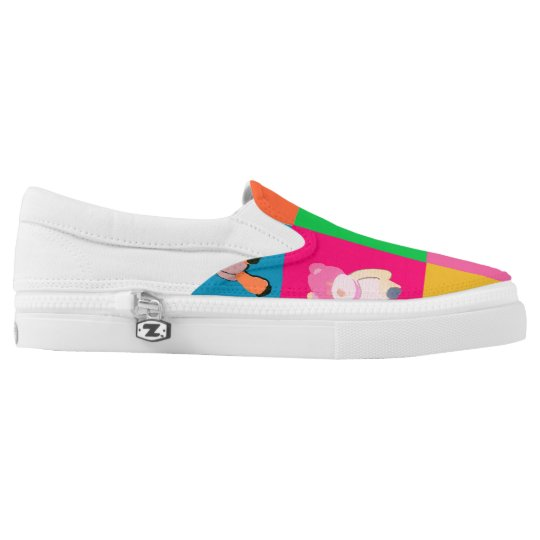 Popart teddy bear Custom Zipz Slip On Shoes Printed Shoes