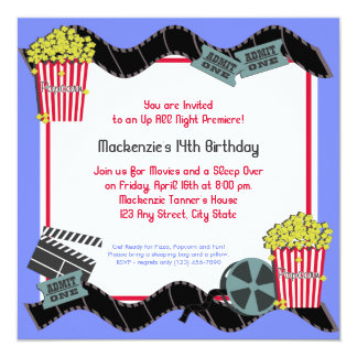 Popcorn and a Movie 13 Cm X 13 Cm Square Invitation Card