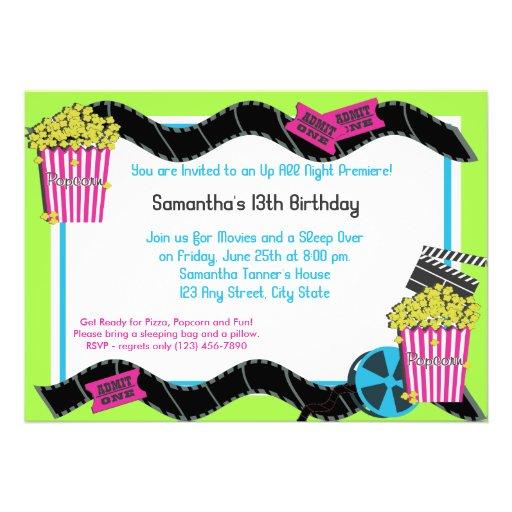 Popcorn and a Movie Personalized Invite